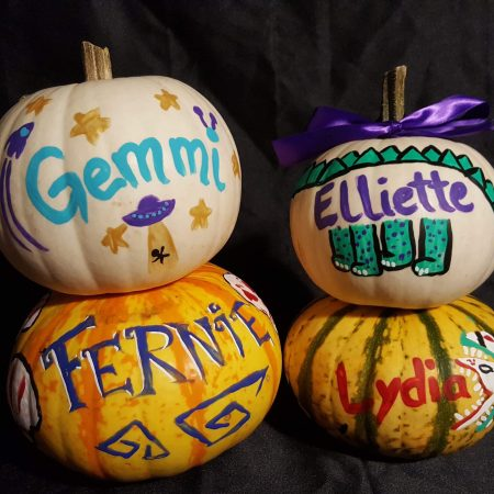 Gemmi Galactic The Galactic Bat Baby name reveal pumpkins